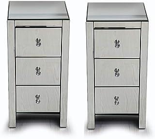 Alightup Une Paire Table de Chevet Miroir Meuble de Rangement en Verre avec 3 Tiroirs sur Salon, Chambre, Bureau Salle de ...