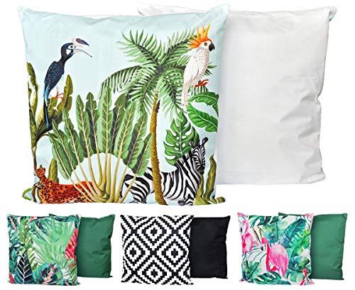JACK XXL Outdoor Lounge Kissen 60x60cm Motiv Dekokissen Wasserfest Sitzkissen Garten Stuhl, Farbe:Urwald