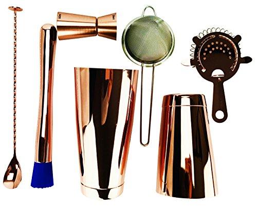 7Piece Copper Pro set Boston cocktail shaker Tin 793,8gram, shaker 510,3gram Tin 4Prong strainer, fine strainer, Jigger 25/50ML testa piatta cucchiaio da bar attorcigliato e pestello professionale kit barman