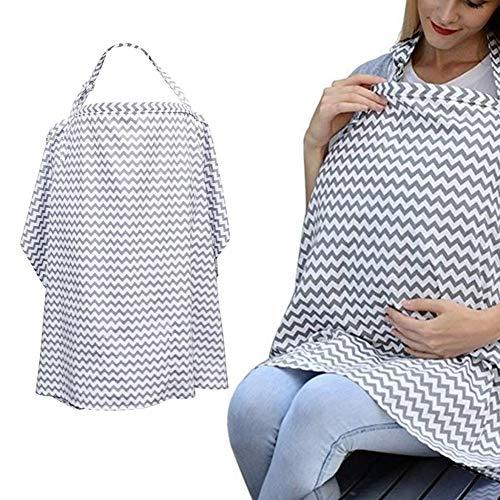 Boerni Grande couverture d'allaitement respirante, couverture d'allaitement douce pour une protection complète de l'allaitement... (Gris)