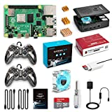 LABISTS Raspberry Pi 4 4GB Retro Gaming Kit with 64G SD Card, Game Controllers x 2, Black Case, Heatsink Fan, 5.1V 3A Power Supply, Micro HDMI Cable, SD Card Reader (4GB RAM, 64G SD Card)