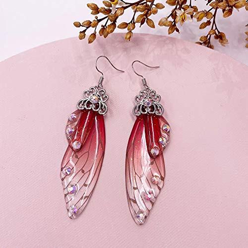 Nuevos Pendientes de ala de simulación de hadas hechos a mano Pendientes colgantes de ala de mariposa de insectos Pendientes de diamantes de imitación de hoja Joyería nupcial romántica Plata-Rojo