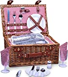 SatisInside Picnic Basket for 2 Wicker Picnic Set with Insulated Liner...