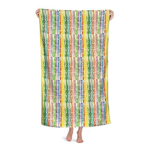 Retro Grunge Rianbow - Juego de toallas de baño de microfibra de secado rápido inspirado en la casa de granja de color antiguo con diseño de granja, toallas grandes para adultos