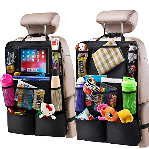 H Helteko Backseat Car Organizer, Kick Mats Back Seat Protector with Touch Screen Tablet Holder, Car Back Seat Organizer for Kids, Car Travel Accessories, Kick Mat with 9 Storage Pockets 2 Pack