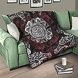 AXGM Quilt Decke Tagesdecke Wikinger Drache Tattoo Steppdecke Wohndecke Kuscheldecke Mikrofaser TV-Decke White 180x200cm