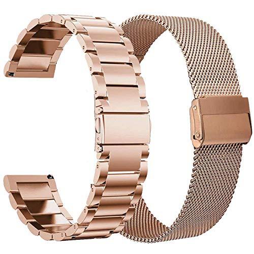 VIGOSS Kompatible Für Galaxy Watch 42mm/Active 2 40mm 44mm Armband Schwarz Metall Edelstahlarmband Männer Ersatz Armband Für Samsung Galaxy Watch 42mm/Active 2 40mm Smartwatch
