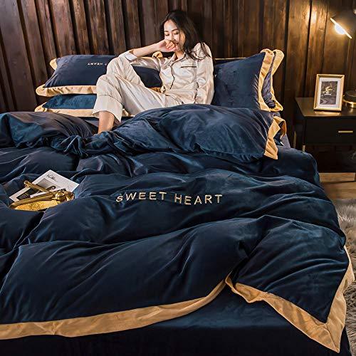 Juego de Funda de edredón para Cama de Matrimonio-Invierno de cuatro piezas cama de lana de coral gruesa de doble cara de cristal funda nórdica corta cama individual funda de almohada individual rega