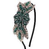 ArtiDeco 1920 - Diadema de los años 20 para mujer, accesorio para disfraz de Gatsby Stil2 - verde. Talla única