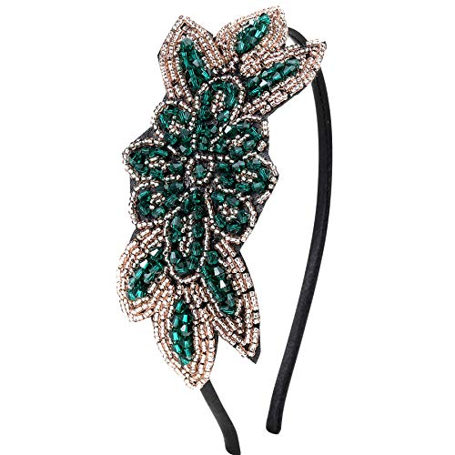 ArtiDeco 1920s Stirnband Damen Haarreif Gatsby Kostüm Accessoires 20er Jahre Flapper Haarband (Stil2 - Grün)