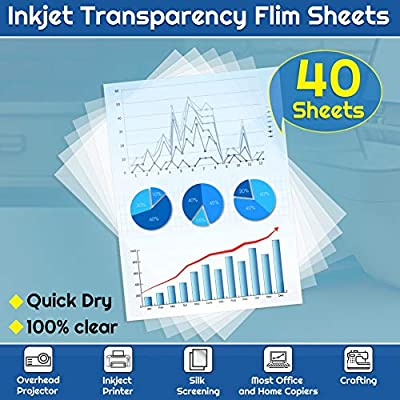 Transparency Paper Film for Inkjet Printers, Shynek 40 Pcs Inkjet Transparency Paper Film Sheets, Quick Dry, Clear Transparency Film for Overhead Projector Screen Prints Copier Ornaments