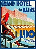 ERZANメタルポスター壁画ショップ看板ショップ看板グランドホテルデバンリドヴェネツィアイタリアヴィンテージ旅行広告インテリア 看板20x30cm
