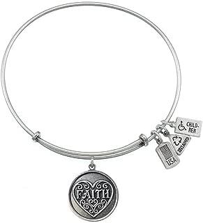 Wind and Fire Faith Charm Bangle Bracelet (Antique Silvertone Finish)