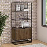 Bush Furniture Anthropology 5 Shelf Bookcase with Doors in Rustic Brown