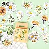 PMSMT 45 unids/Set Blooming Daisy Girasol Papel Pegatinas de Sellado Scrapbooking DIY Adhesivo Decorativo Diario papelería