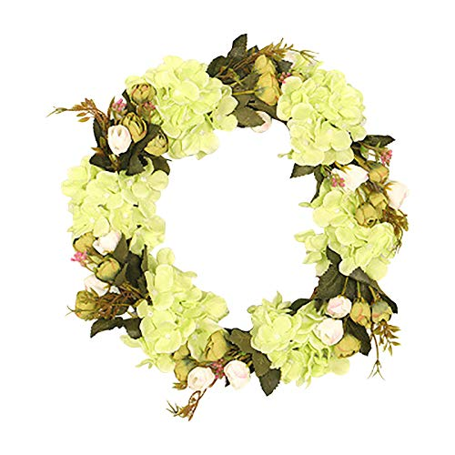 Wreaths Artificial Flower Front Door for Spring Summer All Seasons Floral Wreath Round Twigs Vine Hanging for Farmhouse Office Home Wedding Valentine's Day Venue Layout Props Decor