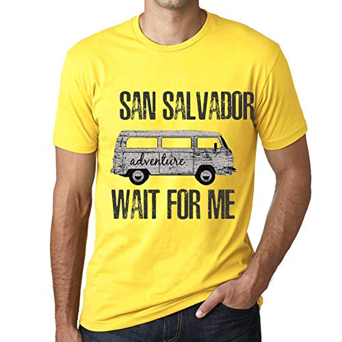 One in the City Hombre Camiseta Vintage T-Shirt Gráfico San Salvador Wait For Me Amarillo