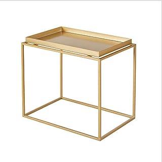 Meubles Modernes Table Basse Salon Moderne Chambre Canapé Table d'appoint Table Basse en Fer forgé avec Support de Rangeme...
