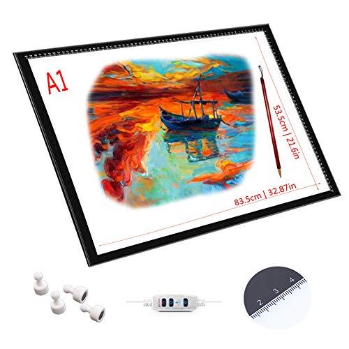 LXXYJ Copiar La Tabla A4 A3 A2 A1 Copia De Tabla Juntas LED Dibujo Translúcido LED Brillo Ajustable Precisa, Función De Control Táctil con Memoria, Ultra-Delgado De Sólo 0,8 Cm De Espesor,A1 ⭐