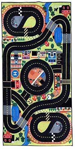Siela Kinder Teppich Waschbar in der Waschmachine. Kinderzimmerteppich, Mädchen, Junge Spielteppich. Pflegeleicht, versch. Muster und Größen Autoteppich Straßenteppich in Bunt(120x180cm)