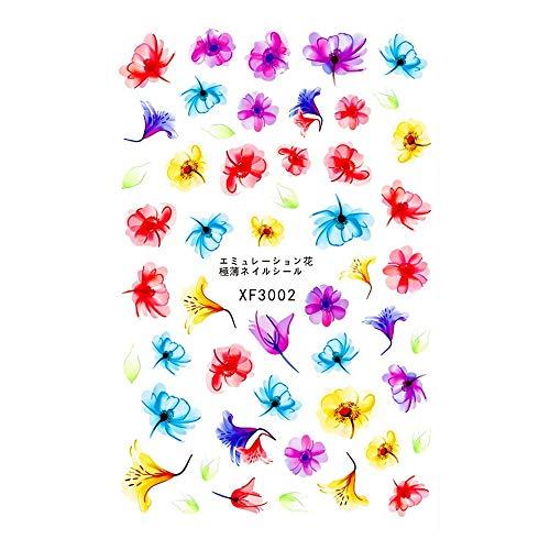 JUTOO Stickers Ongle Femmes Style Frais Ongles Imprimé Feurs 3D Art Autocollants manucure Autocollants de Transfert D'adhésif