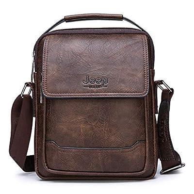 JEEP BULUO Leather Shoulder Bag Crossbody Handbag Daypack Messenger Bags For Men?Brown?