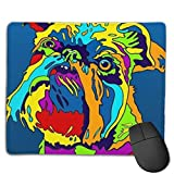 Multi-Color Griffon Bruxellois Mouse Pad with Stitched Edges, Mouse Pad with Non-Slip Base, Suitable for Work,Gaming, Office, Home, Fast Accurate Game and Office Control