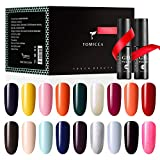 TOMICCA Esmaltes Semipermanentes de Uñas Brillante en Gel UV LED, 18pcs Kit de Esmaltes de Uñas en Gel Soak Off Pintauñas Permanente +Base y Top Coat 14