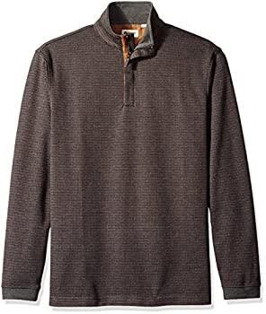 Haggar Men s Long Sleeve Houndstooth Quarter Zip Knit with Faux Suede Trim Charcoal Grey Heather Small