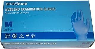 Clean Safety NVBlend Examination Single Use Gloves, Medium, 100 Pack, Textured Fingertips, Powder Free Vinyl/Nitrile, Xo-P...