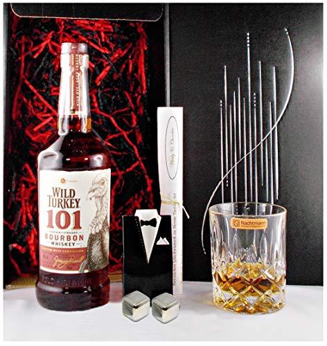 Geschenk Wild Turkey 101 Proof Bourbon Whiskey + Glas + 2 Whisky Kühlsteine