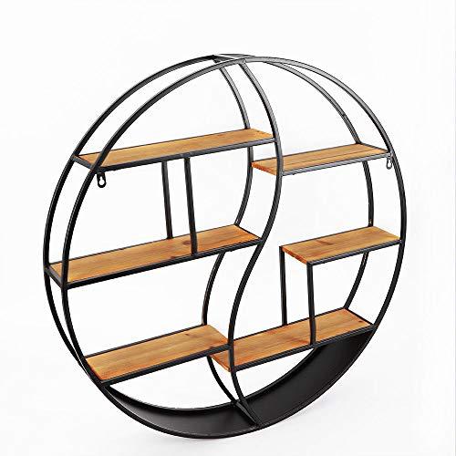 BTdahong Rundes Regal, Aufbewahrungsregal aus Metall, Wandregal, Runder Vintage-Wandständer 59 cm, 80 cm (59cm)