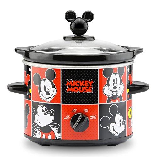 Olla de cocción lenta de 8 tazas, Mickey Mouse 2-Quart Slow Cooker, Rojo/Negro, 1.9 litros, 1