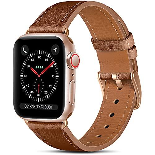 CeMiKa Compatible con Apple Watch Correa 38mm 40mm 42mm 44mm, Correas de Cuero Genuino Compatible con iWatch Correa SE/Series 6 5 4 3 2 1, 42mm/44mm, Marrón/Oro Rosa