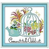Kit de punto de cruz, kit de bordado con tela de lona preimpresa de 11 quilates e hilo de algodón, costura, decoración de la pared del hogar, tapiz, kit de bordado, jaula de pájaros de 40 x 38 cm
