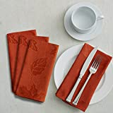 Benson Mills Harvest Legacy Damask Tablecloth for Fall and Harvest (Rust, 18' X 18' Napkins Set of 4)