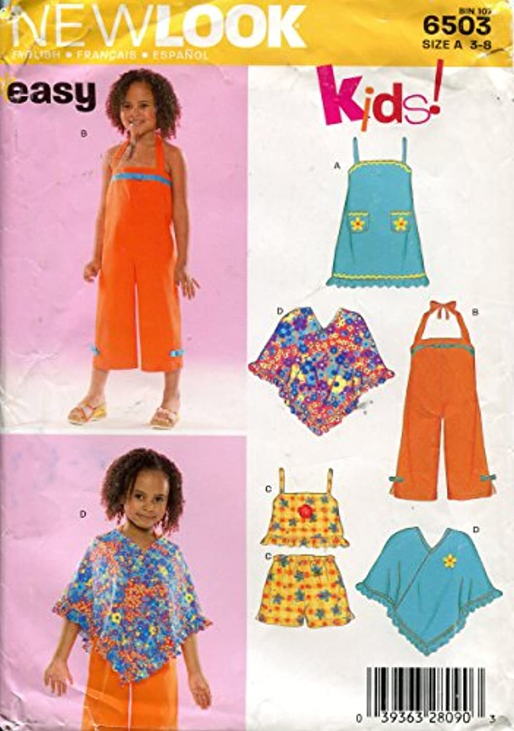 New Look for Kids Pattern 6503 Girls' Summer Tops, Overalls, Shorts, Dress, Poncho, Size A (3-8)