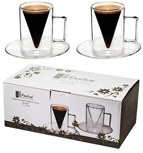 Spikey 2X 70ml doppelwandige Spitzglas-Tassen gerade mit Henkel und Untersetzer, für Ihren besonderen Espresso, by Feelino