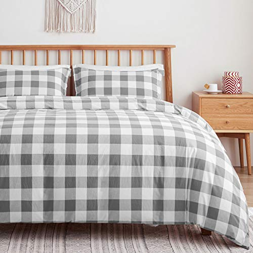 VEEYOO Duvet Cover Set Single 100% Cotton - Grey White Checkered Design with Zipper Closure & Corner Ties Duvet Cover 135x200cm with 1 Pillow Shams 50x66cm, Ultra Soft Washed Cotton Quilt Cover Sets