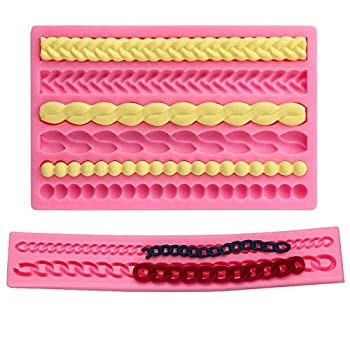 DD-life 2-Pack Pie Crust Silicone Molds Rope Pearl Lace Fondant Mold ,Chain Shaped Silicone Fondant Mold for Cake Decorating