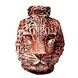 Leopard Print 3D Hoodie for Women Men, Sweatshirt Cartoon Clothes with Pockets 3D Pullover Hoodie (Leopard, 2XL/3XL)