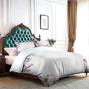 DRAGON VINES 4pcs Bedding Set Silk Sheets Sheets Flower Background with Florets Blooms Bouquet Romance Bridal Watercolor Art Wedding Bed Fuchsia Green Blue