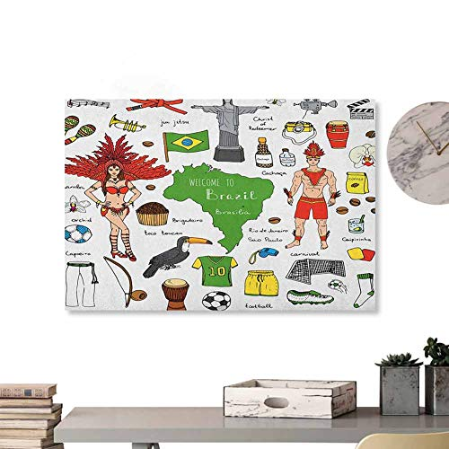 "Tankcsard Home Wall Decorations Art Decor Modern,Brazilian Symbols Rio Carnival Samba Dancer Flag Christ The Redeemer Statue Print,Multicolor 24""x20"" Home Decorations Modern Stretched and Artwork"