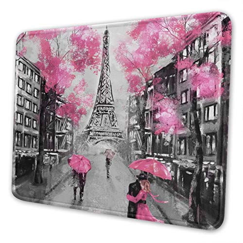 Art Paris Street Eiffel Tower Pink Floral Mouse Pad with Stitched Edge Premium-Textured Mouse Mat Non-Slip Rubber Base Mousepad for Laptop Computer & Pc Gaming Office Home 10 X 12 Inch