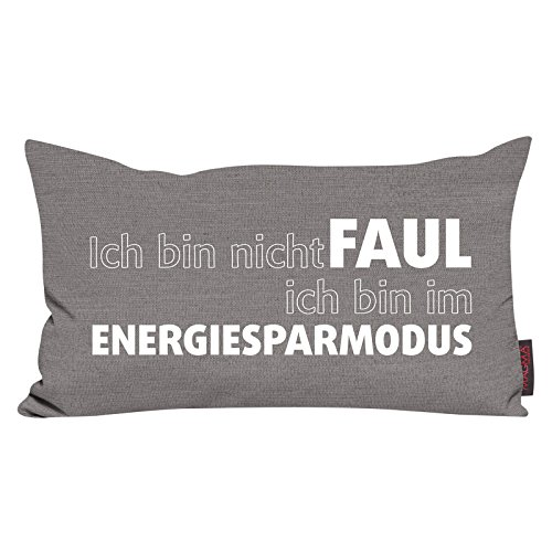Kissen Zitat Faul - Grau 30x50 Made in Germany
