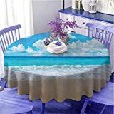 UETECH Printed Round Tablecloth Tropical Coastal Contemporary Modern Decor Collection Seascapes Seashore Ocean Paradise Beach Landscape Blue White Beige Diameter 70'
