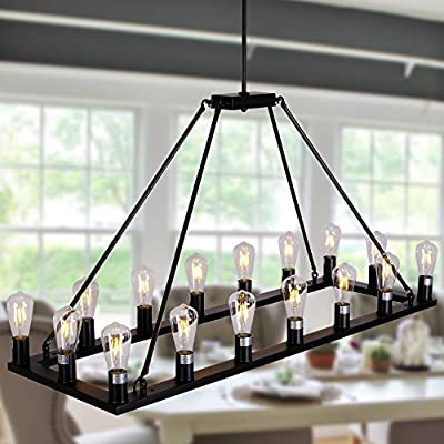 OSAIRUOS W47'' Rectangle Vintage Chandelier Kitchen Island Rustic Pendant Wagon Farmhouse Antique Industrial Chandeliers Ceiling Light Fixture for Dining Living Room Cafe Hallways Entryway 16 Lights