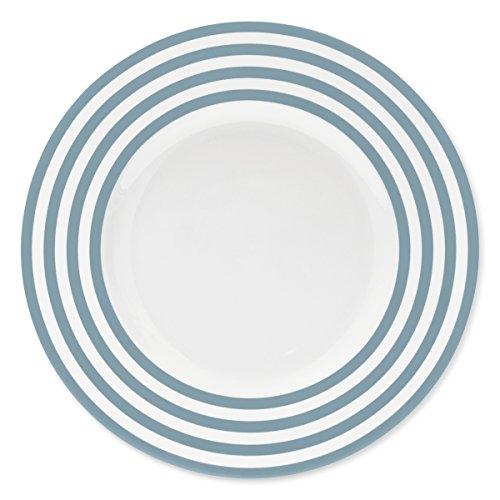 Bruno Evrard Assiette Plate à Rayures Bleu Jean en Porcelaine 29cm - Lot de 6 - Freshness Lines