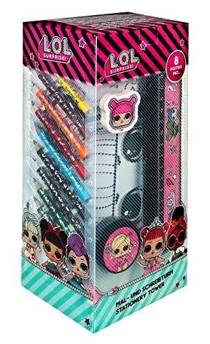 L.O.L. Surprise! LOLO2254 Mal-und Schreibturm mit Stiften, Block und viel Zubehör, LOL Surprise, 22 teilig