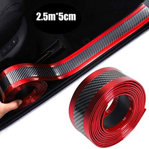 Universal Fibra de Carbono Umbral del Coche Protector Flexible,Frente Cubierta de Parachoques Puerta de Coche,Placa Adhesiva,Accesorios de Protección Para Coches SUV (Bilateral rojo 2.5m * 5cm)